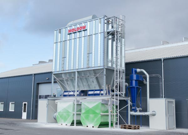 Dust extraction system for wood and cement